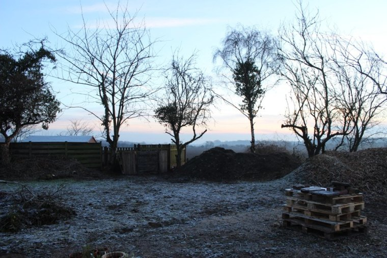 Piles of earth and chippings on a frosty winter morning!