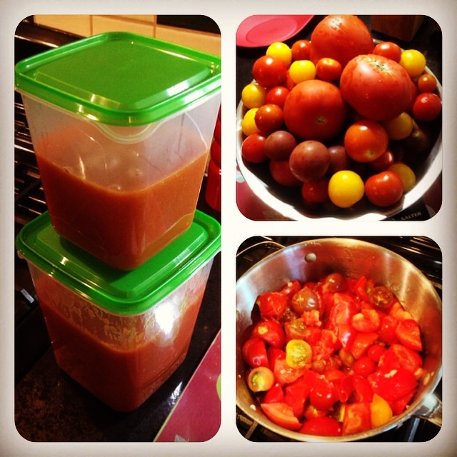 Passata made from a glut of tomatoes and ready for the freezer