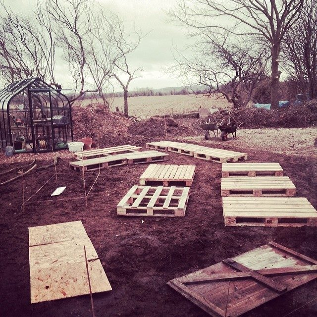 We mocked up the raised beds before building the real ones
